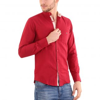 f3648aca441 You re viewing  Rapphael men s cotton chinese collar plain Red color shirt(RPL-00640)  ₹2